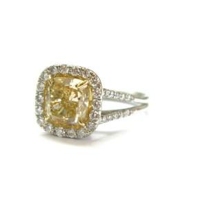 Fancy Yellow Cushion Diamond Halo Engagement Ring Platinum 950 2.96Ct
