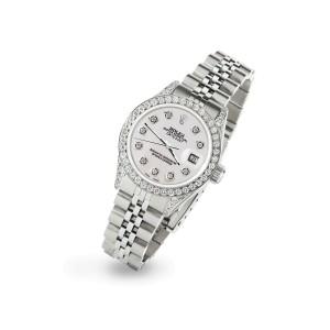 Rolex Datejust 26mm Steel Jubilee Diamond Watch with Pearl Grey Dial
