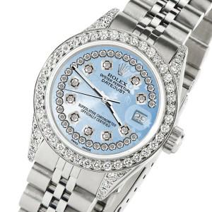 Rolex Datejust 26mm Steel Jubilee Diamond Watch with Blue Flower Dial