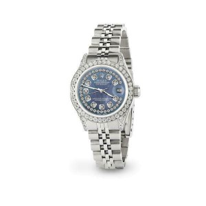 Rolex Datejust 26mm Steel Jubilee Diamond Watch with Pearl Black Dial