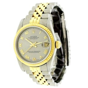 Rolex Datejust Silver Roman Dial Midsize 31mm Womens Jubilee Watch 68273
