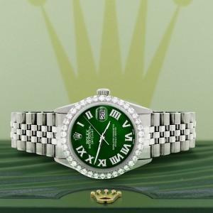 Rolex Datejust 36MM Steel Watch with 3.3CT Diamond Bezel/Green MOP Roman Dial