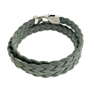 Stephen Webster Rayman 3 wrap grey leather bracelet with Oxidized Silver clasp