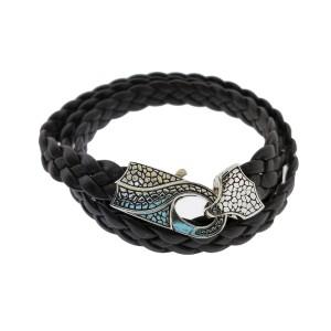 Stephen Webster Rayman 3 wrap black leather bracelet with Oxidized Silver clasp
