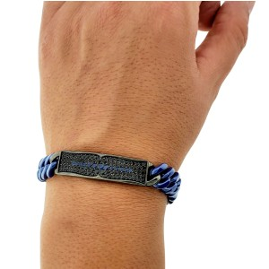 Stephen Webster Men's Rayman Ceramic Link Bar Sapphire Bracelet