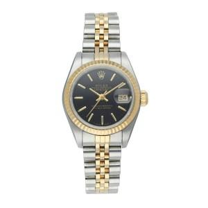 Rolex Datejust 69173 Black Tapestry Dial Ladies Watch