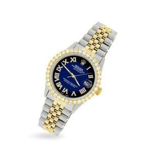 Rolex Datejust 36mm 2-Tone WATCH/3.10ct Diamond Bezel/Blue Vignette Diamond Dial