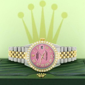 Rolex Datejust 36mm 2-Tone WATCH/3.10ct Diamond Bezel/Hot Pink Diamond Dial