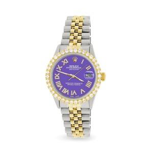 Rolex Datejust 36mm 2-Tone WATCH/3.10ct Diamond Bezel/Lavender Diamond Dial