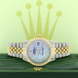 Rolex Datejust 36mm 2-Tone WATCH/3.10ct Diamond Bezel/Purple MOP Roman Dial