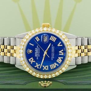 Rolex Datejust 36mm 2-Tone WATCH/3.10ct Diamond Bezel/Royal Blue MOP Roman Dial