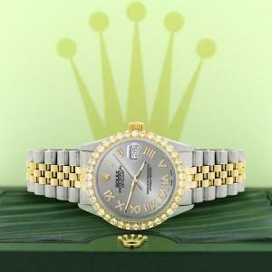 Rolex Datejust 36mm 2-Tone WATCH/3.10ct Diamond Bezel/Silver Roman Dial