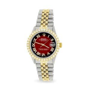 Rolex Datejust 36mm 2-Tone WATCH/3.10ct Diamond Bezel/Vignette Red Black Dial