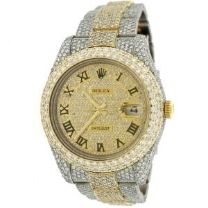 Rolex Datejust II 41mm Pave Diamond Watch 25.9ct Bezel/Lugs/Bracelet/Roman Dial