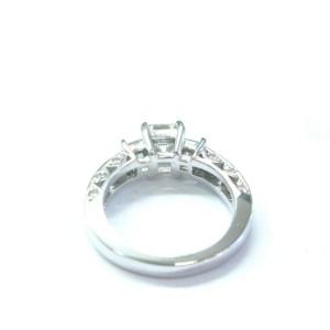 Asscher & Princess Cut NATURAL Diamond 3-Stone Engagement White Gold Ring 1.85CT