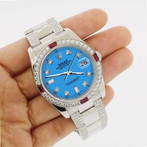 Rolex Datejust 116200 Steel 36mm Watch w/4.5Ct Diamond Bezel Blue Diamond Dial