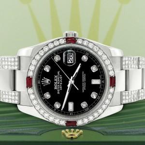 Rolex Datejust 116200 Steel 36mm Watch w/4.5Ct Diamond Bezel Black Diamond Dial