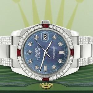 Rolex Datejust 116200 Steel 36mm Watch w/4.5Ct Diamond Bezel Black Pearl Dial