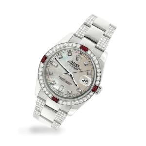 Rolex Datejust 116200 Steel 36mm Watch w/4.5Ct Diamond Bezel Champagne MOP Dial
