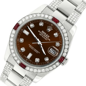 Rolex Datejust 116200 Steel 36mm Watch with 4.5Ct Diamond Bezel Chocolate Dial
