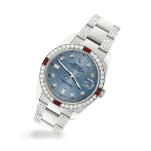 Rolex Datejust 116200 Steel 36mm Watch 4.5Ct Diamond Bezel Ice Blue Jubilee Dial