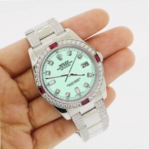 Rolex Datejust 116200 Steel 36mm Watch 4.5Ct Diamond Bezel Light Malachite Dial