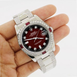 Rolex Datejust 116200 Steel 36mm Watch 4.5Ct Diamond Bezel Maroon Vignette Dial