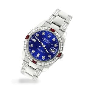 Rolex Datejust 116200 Steel 36mm Watch with 4.5Ct Diamond Bezel Navy Blue Dial