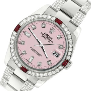 Rolex Datejust 116200 Steel 36mm Watch with 4.5Ct Diamond Bezel Orchid Pink Dial