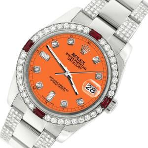 Rolex Datejust 116200 Steel 36mm Watch 4.5Ct Diamond Bezel Pastel Orange Dial