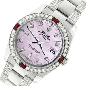 Rolex Datejust 116200 Steel 36mm Watch with 4.5Ct Diamond Bezel Pink Pearl Dial
