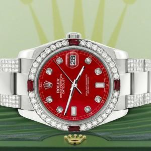 Rolex Datejust 116200 Steel 36mm Watch with 4.5Ct Diamond Bezel Red MOP Dial