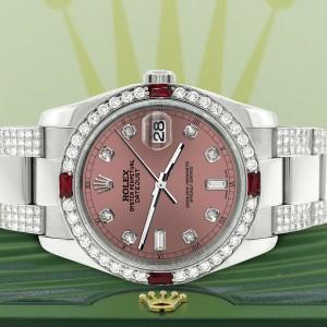Rolex Datejust 116200 Steel 36mm Watch with 4.5Ct Diamond Bezel Salmon Dial
