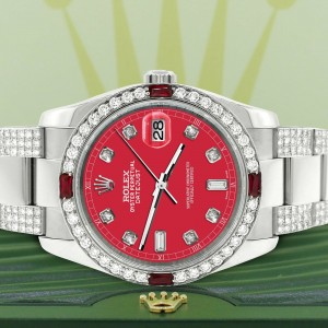 Rolex Datejust 116200 Steel 36mm Watch with 4.5Ct Diamond Bezel Scarlet Red Dial
