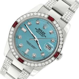 Rolex Datejust 116200 Steel 36mm Watch w/4.5Ct Diamond Bezel Turquoise Dial