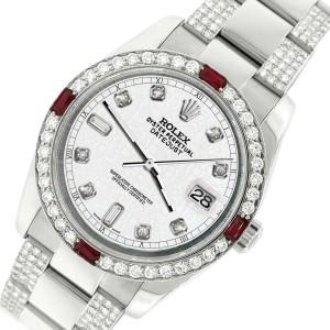 Rolex Datejust 116200 Steel 36mm Watch w/4.5Ct Diamond Bezel White Jubilee Dial