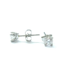 Fine Round Cut Diamond Stud White Gold Earrings 4-Prong .58CT F/VVS2