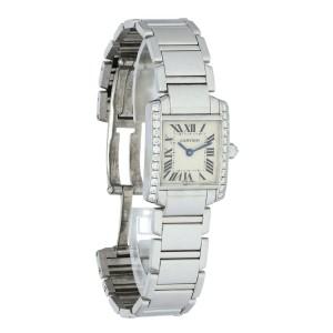 Cartier Tank Francaise 2403 White Gold Diamond Ladies Watch