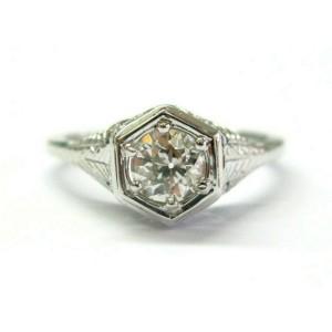 Vintage Old European Cut Diamond Ring 18Kt White Gold .75Ct G-VS2