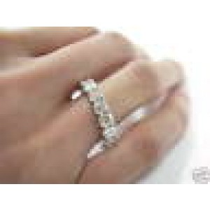 Asscher Cut NATURAL Diamond Eternity Ring 3.45Ct SOLID White Gold 14KT Size 8