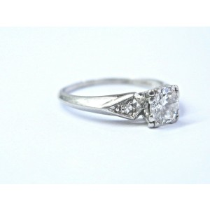 Platinum Vintage Round Diamond Three Stone Engagement Ring .55Ct