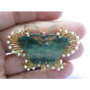 """Fine Jade Hand Carved Pearl & Ruby Pin/Brooch Yellow Gold 14KT 2.25"""""""