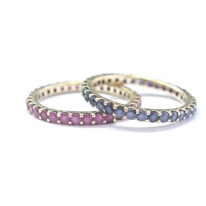 Fine Gem Ruby & Gem Blue Sapphire Yellow Gold Eternity Bands 2-Rings 14Kt 2.00Ct