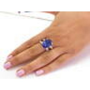 NATURAL Pear Shape Tanzanite & Diamond Ring 18Kt White Gold 13.64CT AAAA/VS