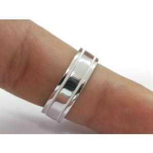 Tiffany & Co PLATINUM Milgrain Wedding Band Ring 6mm Size 8.5