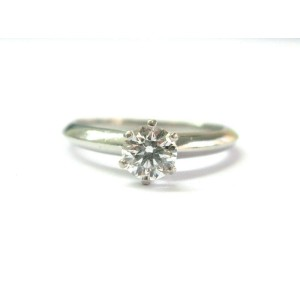 Tiffany & Co Platinum Round Diamond Solitaire Engagement Ring G-VS2 .60CT