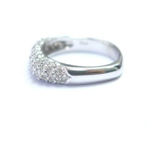 18Kt Round Cut Diamond Pave White Gold Jewelry Square Ring 1.00Ct