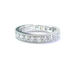 Tiffany & Co Platinum Legacy Diamond Milgrain Band Ring Sz 4.5 3.2mm 1.18Ct