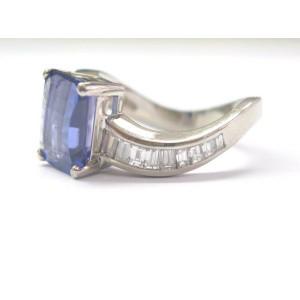 Cushion Tanzanite & Diamond Ring White Gold 18Kt 6.35Ct AAAA/VS G/VS Sizeable