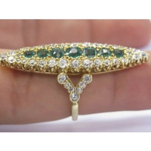 Vintage 18Kt Old European NATURAL Diamond & Colombian Green Emerald Ring 5.33Ct